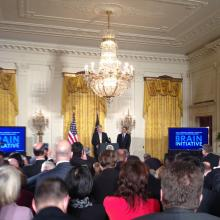 President Obama with Dr. Francis Collins Announcement of BRAIN Initative